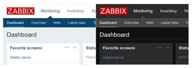 Zabbix 3 - Diferença entre os temas